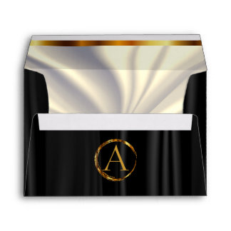 Monogram - Lined Off White Satin & Black Satin Envelope