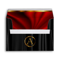 Monogram - Lined Red Satin & Black Satin Envelope