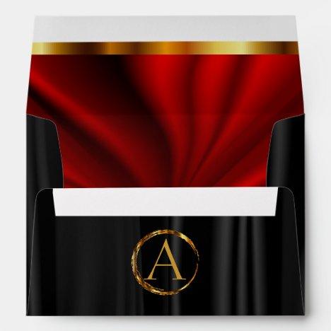 Monogram - Lined Red Satin & Black Satin Envelope