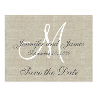 Monogram Linen Save the Date Postcard
