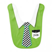 Monogram Little Man Tie Baby Bib / Custom Color