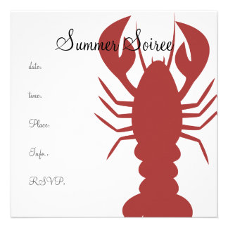 Monogram Lobster Invitations