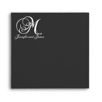 Monogram Logo Black Wedding Invitation Envelope envelope