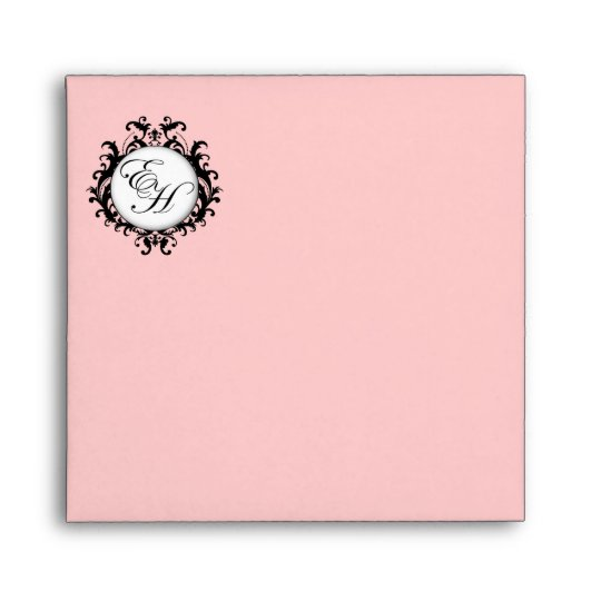 Monogram Logo Black Wedding Invitation Envelope