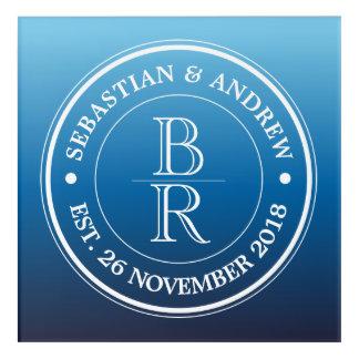 Monogram Logo Blue Ombre Gay Wedding Anniversary Acrylic Print