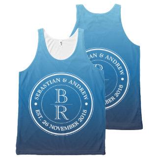 Monogram Logo Blue Ombre Gay Wedding Anniversary All-Over-Print Tank Top