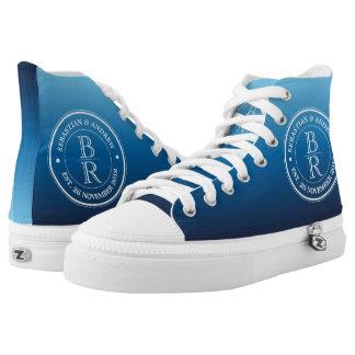 Monogram Logo Blue Ombre Gay Wedding Anniversary High-Top Sneakers