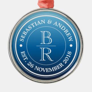 Monogram Logo Blue Ombre Gay Wedding Anniversary Metal Ornament