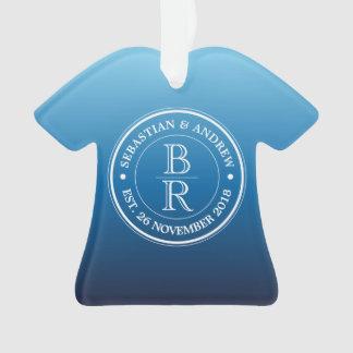 Monogram Logo Blue Ombre Gay Wedding Anniversary Ornament