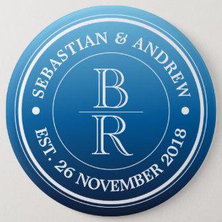 Monogram Logo Blue Ombre Gay Wedding Anniversary Pinback Button