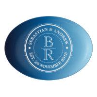 Monogram Logo Blue Ombre Gay Wedding Anniversary Porcelain Serving Platter