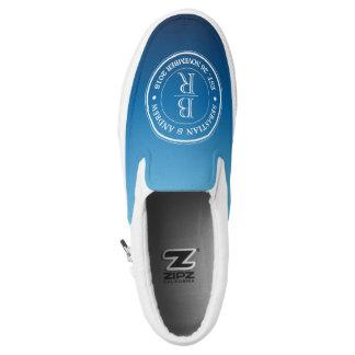 Monogram Logo Blue Ombre Gay Wedding Anniversary Slip-On Sneakers