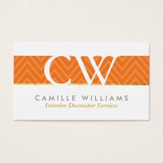 MONOGRAM LOGO bold chevron pattern bright orange Business Card
