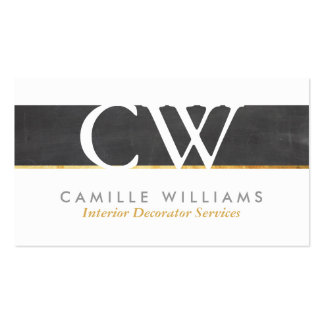 MONOGRAM LOGO cool rustic chalkboard grey gold Double-Sided Standard Business Cards (Pack Of 100)