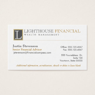 Monogram Logo Financial Advisor Professional Business Card