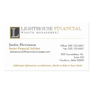 Monogram Logo Financial Advisor Professional Double-Sided Standard Business Cards (Pack Of 100)