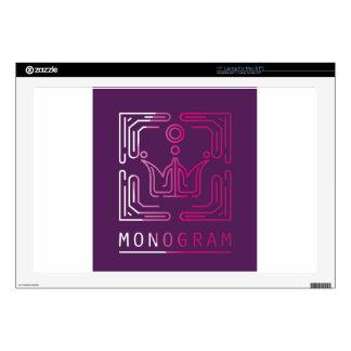 """Monogram Logo Modern Line Art vector Skin For 17"""" Laptop"""