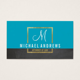 MONOGRAM LOGO modern smart gold box aqua charcoal Business Card