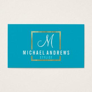 MONOGRAM LOGO modern smart gold box turquoise Business Card
