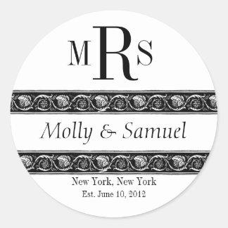 Monogram Logo Ornate Names Date Wedding Label Sticker