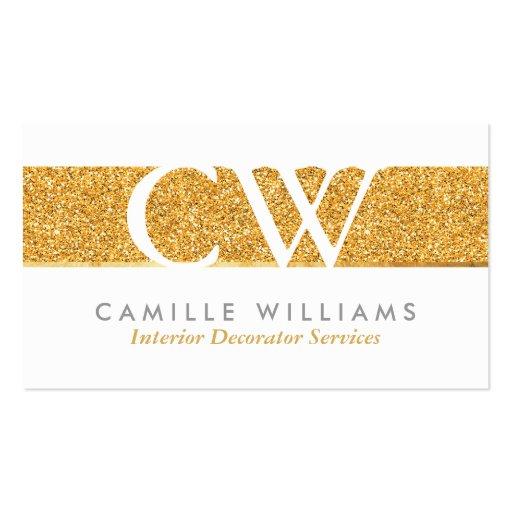 MONOGRAM LOGO smart glamorous gold foil glitter Business Card