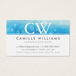 MONOGRAM LOGO whimsical ombre watercolor aqua blue Business Card