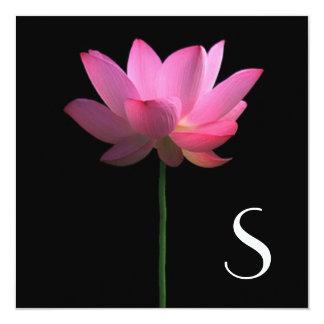 Monogram; Lotus Flower Wedding 5.25x5.25 Square Paper Invitation Card