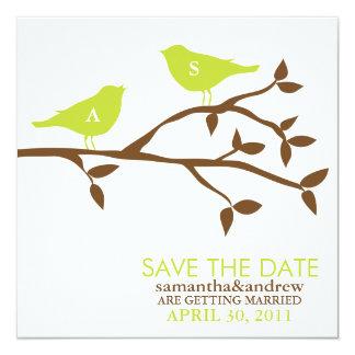 Monogram Love Birds Wedding Save the Date 5.25x5.25 Square Paper Invitation Card