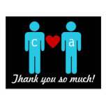 Monogram Love Couple Wedding Thank You Cards Post Card