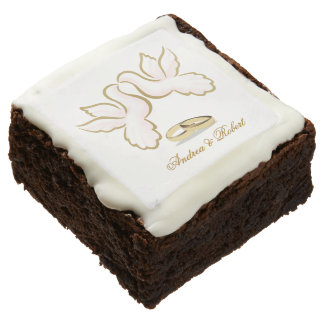MONOGRAM LOVE DOVES, RINGS, WEDDING CAKE BROWNIES SQUARE BROWNIE