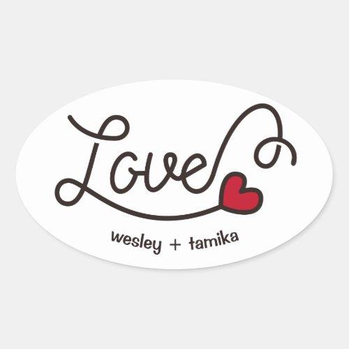 Monogram Love Modern Typography Art Red Heart Oval Sticker