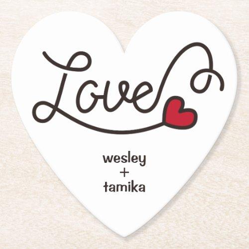 Monogram Love Modern Typography Art Red Heart Paper Coaster