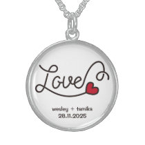 Monogram Love Modern Typography Art Red Heart Sterling Silver Necklace