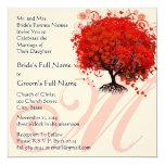 "Monogram Love Tree Square  Wedding Invitation 5.25"" Square Invitation Card"