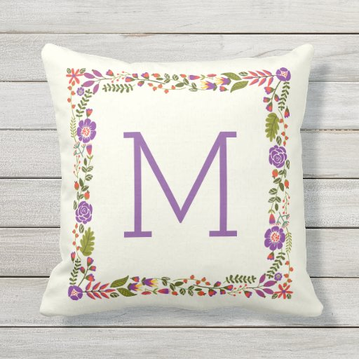 Monogram lovely spring floral purple, orange outdoor pillow