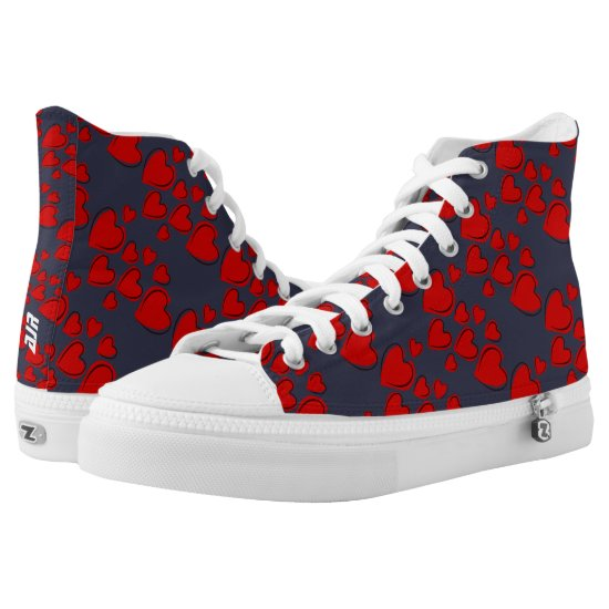 Monogram Lovers Hearts Pattern on Dark Blue High-Top Sneakers
