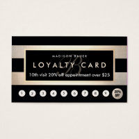 Monogram Loyalty 10 Punch Gold and Black Stripe Business Card