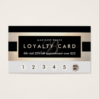 Monogram Loyalty 6 Punch Gold and Black Stripe Business Card