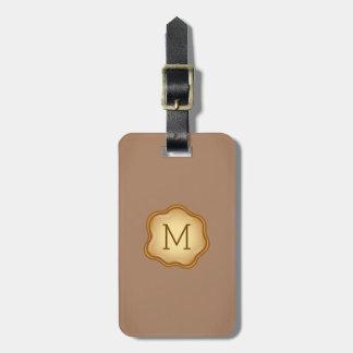 Monogram Luggage Tag - Bronze Ink, Warm Khaki