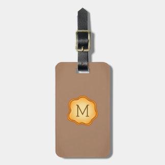Monogram Luggage Tag - Gold Ink, Warm Khaki