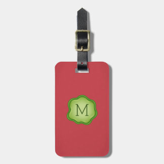 Monogram Luggage Tag - Green Ink, Vibrant Red