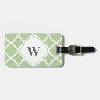 Monogram Luggage Tag in Sage and White Quatrefoil