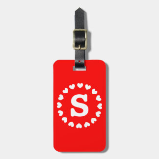 Monogram luggage tag   Initialed heart symbol