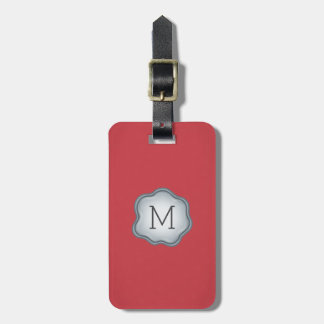 Monogram Luggage Tag - Silver Ink, Vibrant Red