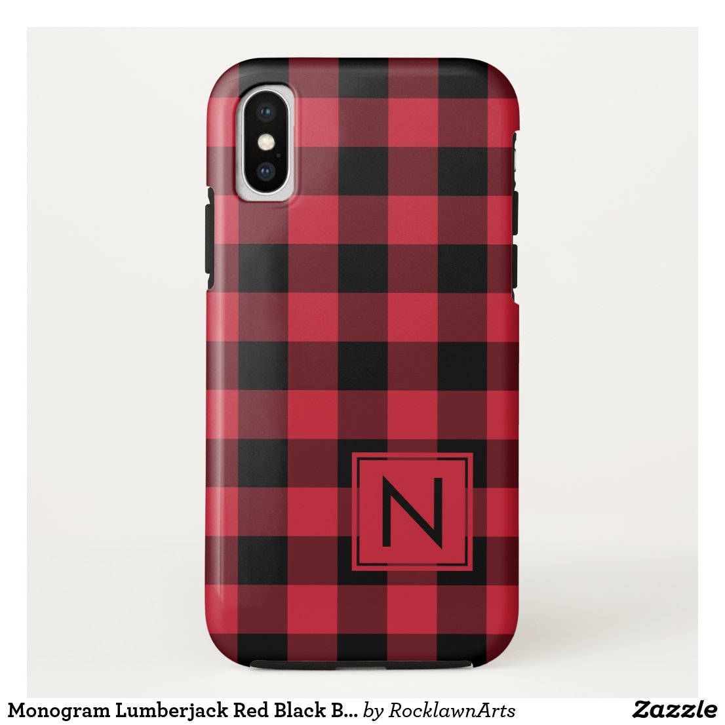 Monogram Lumberjack Red Black Buffalo Plaid iPhone XS Case