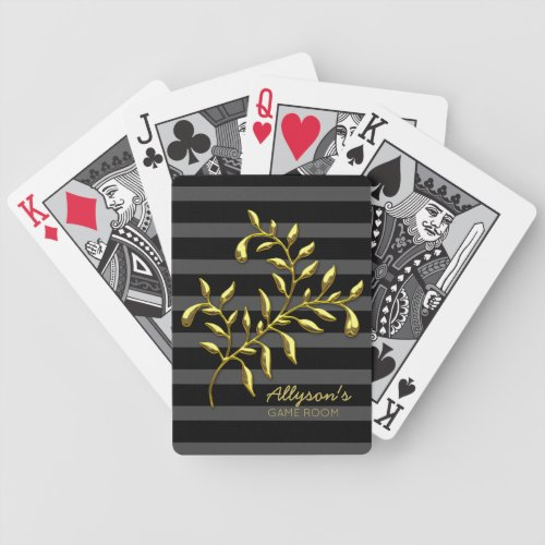 Monogram Luxe Golden Branch Black Grey Stripes Bicycle Playing Cards