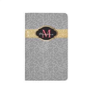 Monogram Luxury Silver Sequins Modern Gold Glitter Journal