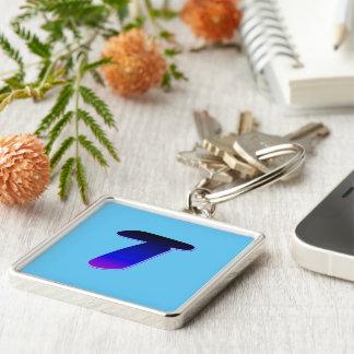 Monogram Luxury Soft Blue Square Keychain