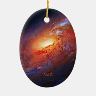 Monogram, M106 Spiral Galaxy, Canes Venatici Double-Sided Oval Ceramic Christmas Ornament