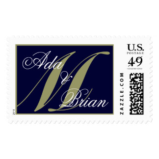 Monogram M and First Names Navy and Green Postage